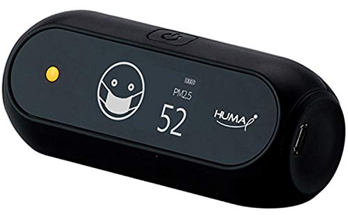 Huma-i (HI-150), Advanced Portable Air Quality Monitor Indoor Outdoor Which Measures CO2, VOC, Particle Matter (PM2.5 and PM10), Temperature, Humidity - Black
