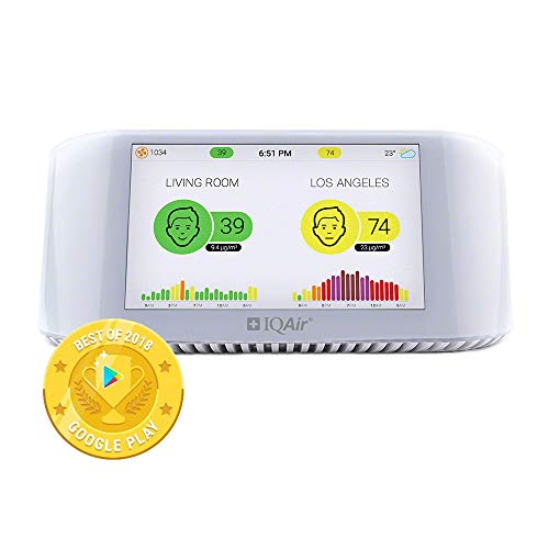 IQAir [AirVisual Pro Air Quality Monitor] Compare Indoor & Outdoor Air Quality [PM2.5, CO2, AQI, Temperature, Humidity] Real-Time Air Quality & Forecasting, Historic Data, IFTTT