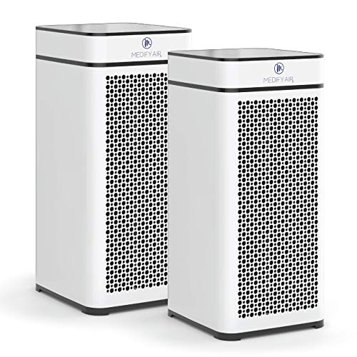 Medify MA-40 Air Purifier with H13 True HEPA Filter | 840 sq ft Coverage | for Smoke, Smokers, Dust, Odors, Pet Dander | Quiet 99.9% Removal to 0.1 Microns | White, 2-Pack